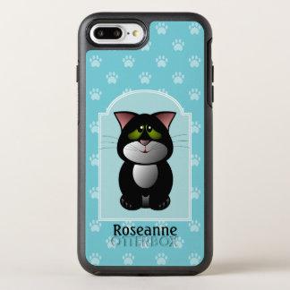 Capa Para iPhone 8 Plus/7 Plus OtterBox Symmetry Impressão preto e branco da pata de Cat.Blue.