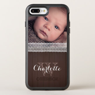 Capa Para iPhone 8 Plus/7 Plus OtterBox Symmetry Laço branco & foto feita sob encomenda escura &