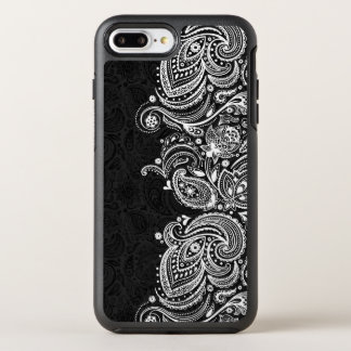 Capa Para iPhone 8 Plus/7 Plus OtterBox Symmetry Laço branco & preto elegante de Paisley do vintage