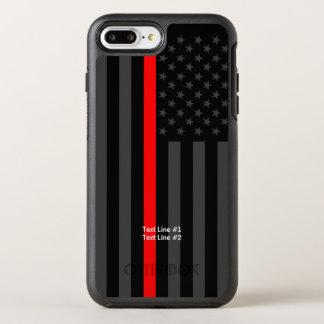 Capa Para iPhone 8 Plus/7 Plus OtterBox Symmetry Linha vermelha fina símbolo de bandeira americana