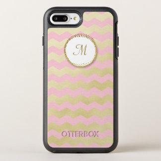 Capa Para iPhone 8 Plus/7 Plus OtterBox Symmetry Listra cor-de-rosa e chique do monograma na moda