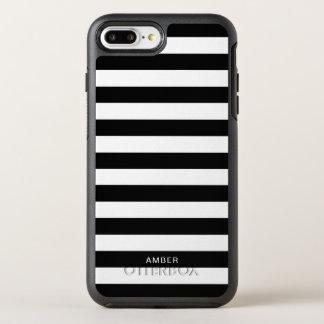Capa Para iPhone 8 Plus/7 Plus OtterBox Symmetry Listras preto e branco com nome feito sob
