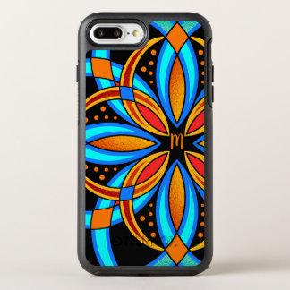 Capa Para iPhone 8 Plus/7 Plus OtterBox Symmetry mandala alaranjada azul da arte digital