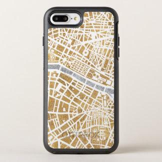 Capa Para iPhone 8 Plus/7 Plus OtterBox Symmetry Mapa dourado da cidade de Paris