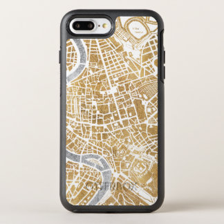 Capa Para iPhone 8 Plus/7 Plus OtterBox Symmetry Mapa dourado da cidade de Roma