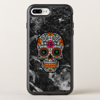 Capa Para iPhone 8 Plus/7 Plus OtterBox Symmetry Mármore preto do falso & crânio floral do açúcar