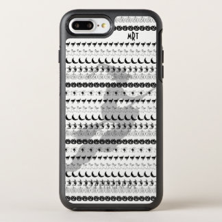 Capa Para iPhone 8 Plus/7 Plus OtterBox Symmetry Monograma: Arte preta/branca da pia batismal do