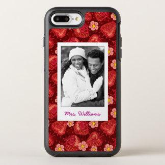 Capa Para iPhone 8 Plus/7 Plus OtterBox Symmetry Monograma do teste padrão | da flor da morango