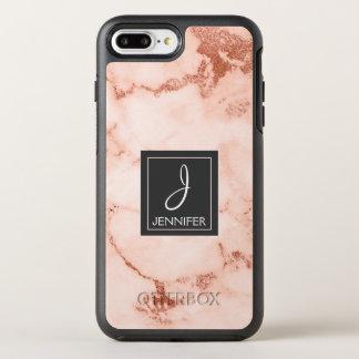 Capa Para iPhone 8 Plus/7 Plus OtterBox Symmetry Monograma elegante do mármore do ouro do rosa do