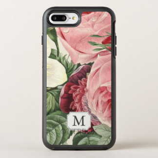 Capa Para iPhone 8 Plus/7 Plus OtterBox Symmetry Monograma floral do rosa botânico do vintage