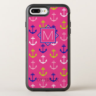 Capa Para iPhone 8 Plus/7 Plus OtterBox Symmetry Monograma náutico cor-de-rosa & azul de |