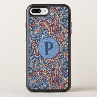 Capa Para iPhone 8 Plus/7 Plus OtterBox Symmetry Monograma vermelho, branco e azul de Paisley da