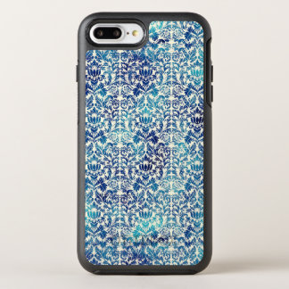 Capa Para iPhone 8 Plus/7 Plus OtterBox Symmetry Niagara e damasco azul de Shibori do Batik de