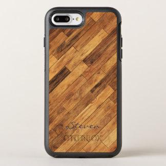 Capa Para iPhone 8 Plus/7 Plus OtterBox Symmetry Nome de madeira do monograma da grão da folhosa