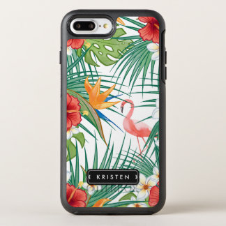 Capa Para iPhone 8 Plus/7 Plus OtterBox Symmetry Nome floral do monograma das folhas do flamingo