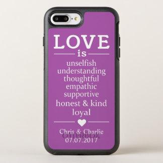 Capa Para iPhone 8 Plus/7 Plus OtterBox Symmetry O amor é… nomes, data & capas de telefone feitos
