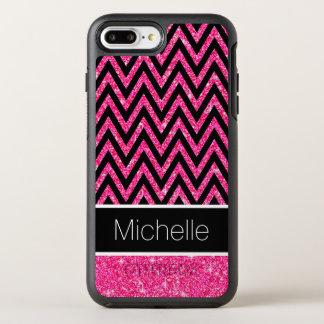 Capa Para iPhone 8 Plus/7 Plus OtterBox Symmetry O brilho cor-de-rosa Sparkles teste padrão preto