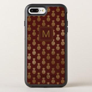 Capa Para iPhone 8 Plus/7 Plus OtterBox Symmetry Ouro Borgonha do abacaxi do monograma |
