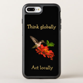 Capa Para iPhone 8 Plus/7 Plus OtterBox Symmetry Pense global o caso positivo do iPhone 7 vermelhos