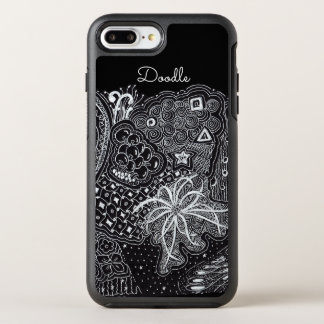Capa Para iPhone 8 Plus/7 Plus OtterBox Symmetry Personalize: Tinta branca na arte preta do Doodle