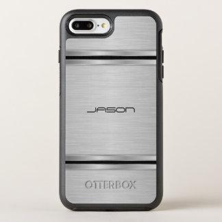Capa Para iPhone 8 Plus/7 Plus OtterBox Symmetry Prata Monogrammed e design metálico preto