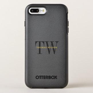 Capa Para iPhone 8 Plus/7 Plus OtterBox Symmetry Preto minimalista moderno & cinzas do monograma