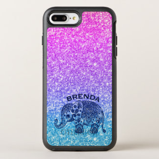Capa Para iPhone 8 Plus/7 Plus OtterBox Symmetry Rosa azul do elefante de Paisley & brilho azul