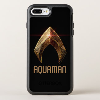 Capa Para iPhone 8 Plus/7 Plus OtterBox Symmetry Símbolo metálico da liga de justiça   Aquaman