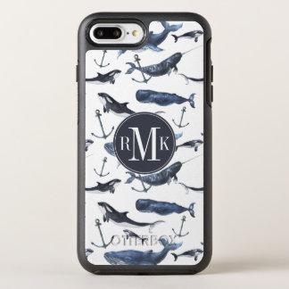 Capa Para iPhone 8 Plus/7 Plus OtterBox Symmetry Teste padrão da baleia & da âncora da aguarela