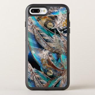 Capa Para iPhone 8 Plus/7 Plus OtterBox Symmetry Teste padrão da forma com penas azuis. Design na