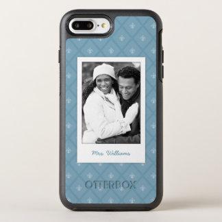 Capa Para iPhone 8 Plus/7 Plus OtterBox Symmetry Teste padrão da foto & da flor de lis do nome