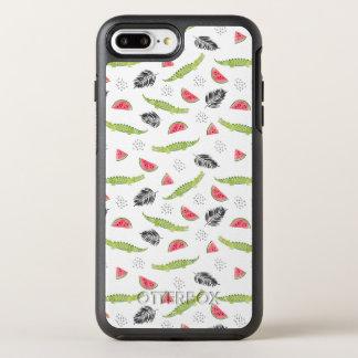 Capa Para iPhone 8 Plus/7 Plus OtterBox Symmetry Teste padrão tropical da melancia & do crocodilo