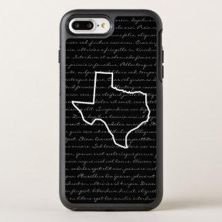 Capa Para iPhone 8 Plus/7 Plus OtterBox Symmetry Texas/algum desenho de esboço do estado + Texto