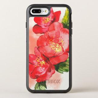 Capa Para iPhone 8 Plus/7 Plus OtterBox Symmetry Três cor-de-rosa e rosas vermelhos da aguarela