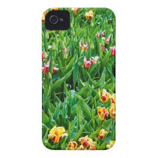 Capa Para iPhone Campo com as tulipas cor-de-rosa e amarelas