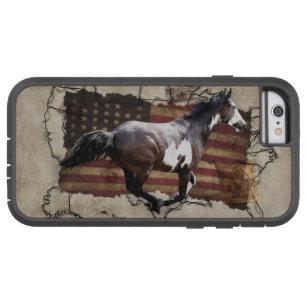 Capa Tough Xtreme Para iPhone 6 Cavalo de galope dos EUA Pony Express da pintura