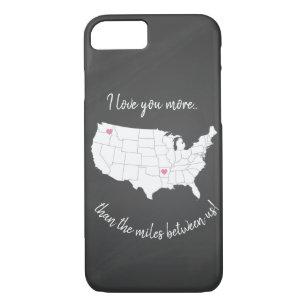 Capa iPhone 8/ 7 EUA Eu te amo mais do que as milhas entre nós