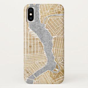 Capa Para iPhone X Mapa dourado da cidade de New York