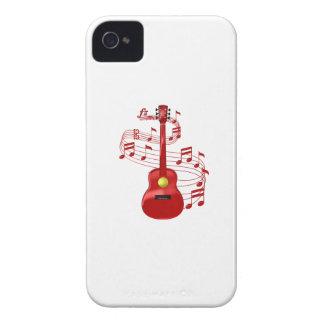 Capa Para iPhone Guitarra acústica vermelha com notas da música