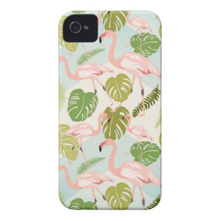 Capa Para iPhone Hand drawn pink flamingo and monstera leaves. Seam