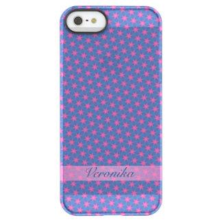 Capa Para iPhone SE/5/5s Permafrost® Estrelas cor-de-rosa em um fundo azul