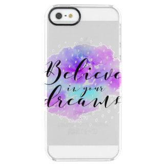 Capa Para iPhone SE/5/5s Transparente A aguarela acredita em suas citações dos sonhos