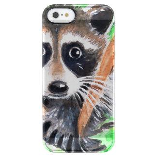 Capa Para iPhone SE/5/5s Transparente Arte bonito da aguarela do guaxinim