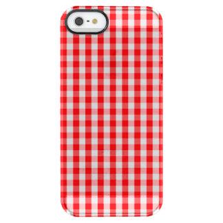 Capa Para iPhone SE/5/5s Transparente Branco pequeno da neve e verificação vermelha do