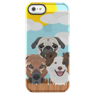 Capa Para iPhone SE/5/5s Transparente Cães afortunados da ilustração em uma cerca de
