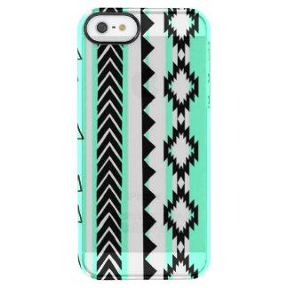 Capa Para iPhone SE/5/5s Transparente Caixa clara preto e branco do verde asteca da