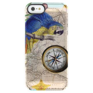 Capa Para iPhone SE/5/5s Transparente Colagem azul tropical
