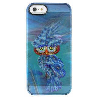 Capa Para iPhone SE/5/5s Transparente Coruja azul mágica da forma da plumagem