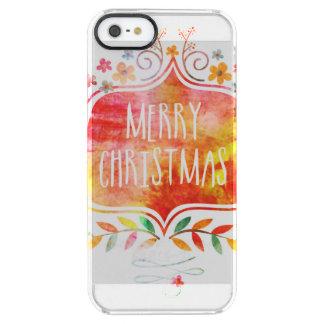 Capa Para iPhone SE/5/5s Transparente Feliz Natal retro da aguarela