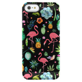 Capa Para iPhone SE/5/5s Transparente Flamingos cor-de-rosa bonitos & colagem tropical